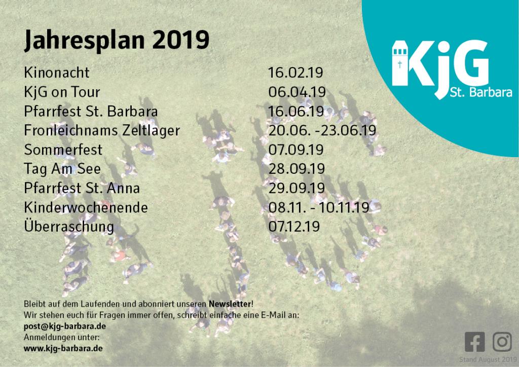 Der Jahresplan 2019 der KjG St. Barbara. Alle unsere Aktionen auf einem Blick!