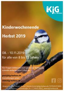 Flyer Kinderwochenende 2019 vom 08.10.2019 bis zum 10.11.2019